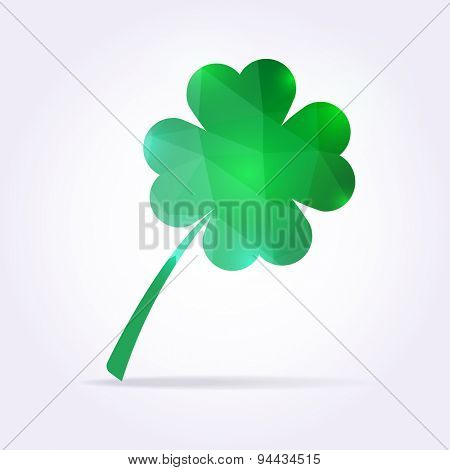 Green clover leaf in low poly style. Shamrock illustration