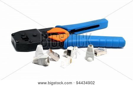 Reliable Tool For Crimping Connectors And Twisted Pair Rj-45