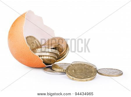 Coins/money Come From Crack Egg On Isolated White Background