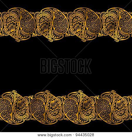 Golden Vector Seamless Painted Shape Pattern, Hand Drawn Watercolor Brush Grunge Textured Image