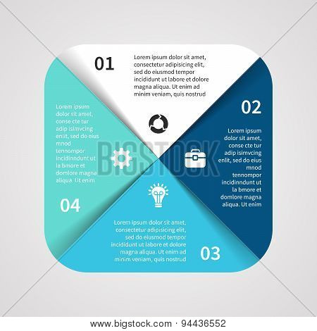 Vector square infographic. Template for cycle diagram, graph, presentation and round chart. Business