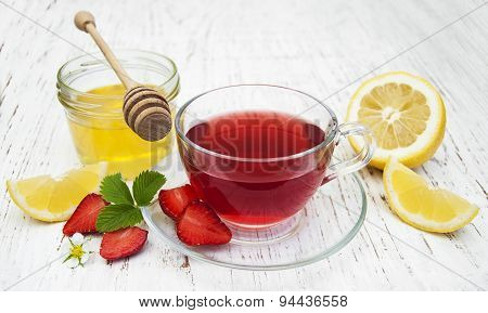 Fruit Tea With Strawberries, Lemon And Honey
