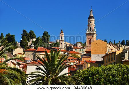 Old Town Architecture Of Menton On French Riviera