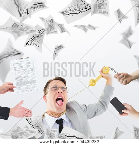 Businessman in suit offering his hand against pages flying