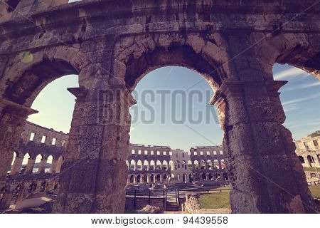 Colosseum Walls In Rome, Italy