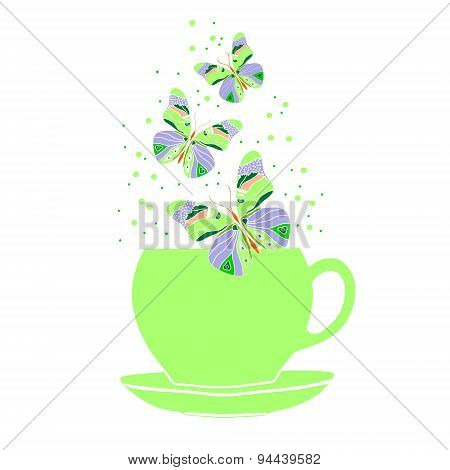 Green cup with butterflies.