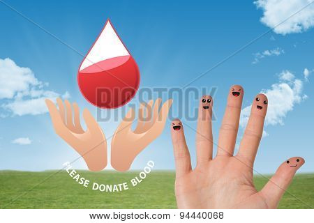 Blood donation against sky and field
