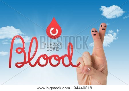 Blood donation against blue sky