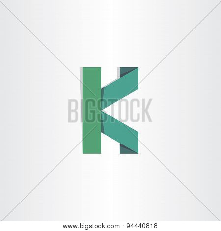 Letter K Green Paper Icon