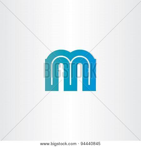 Letter M Blue Icon Design