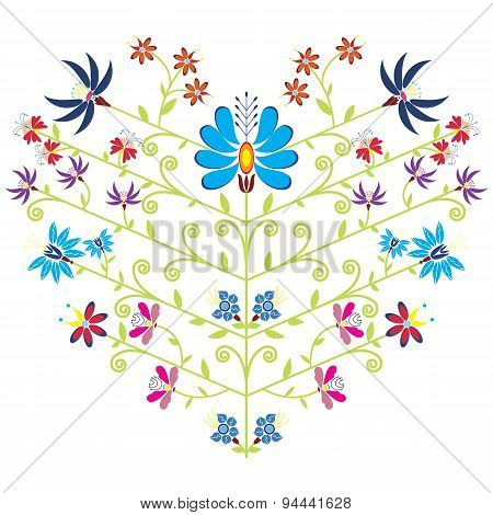 Color folk floral pattern in heart shape on white background