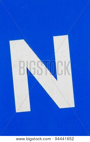 White Letter N From Traffic Road Sign