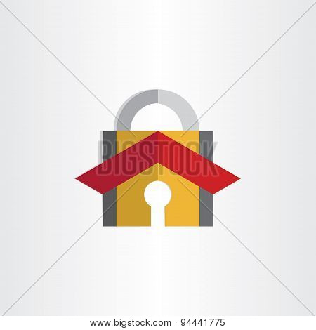 Padlock With House Roof Security Lock Symbol