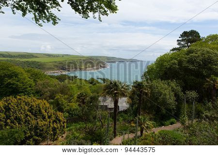 Sea views from Overbecks Edwardian house museum and gardens in Salcombe Devon England UK