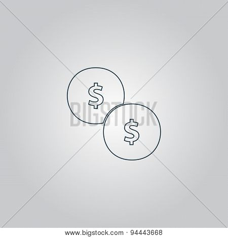 Dollars money coin icon - Vector