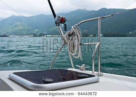 Fishing Rod And Reel On A Yacht