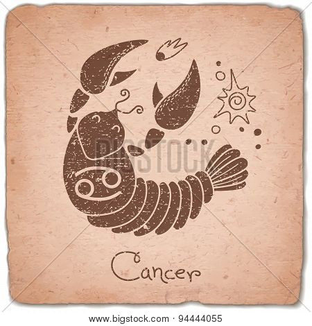 Cancer zodiac sign horoscope vintage card.
