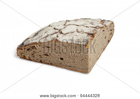 Piece of healthy German Sourdough bread on white background