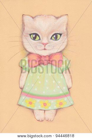 Cat in green dress.