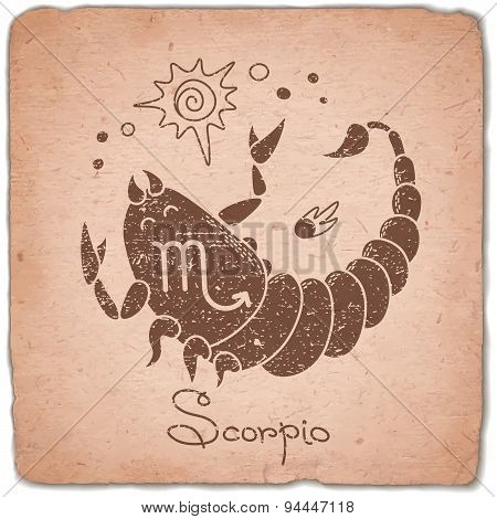 Scorpio zodiac sign horoscope vintage card.