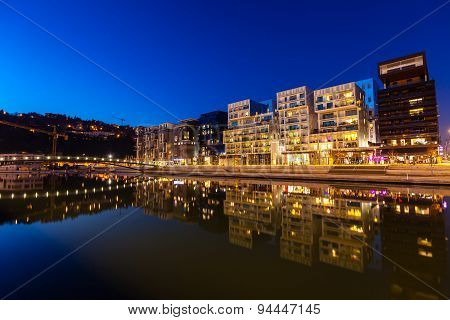 The Confluence District In Lyon, France At Night