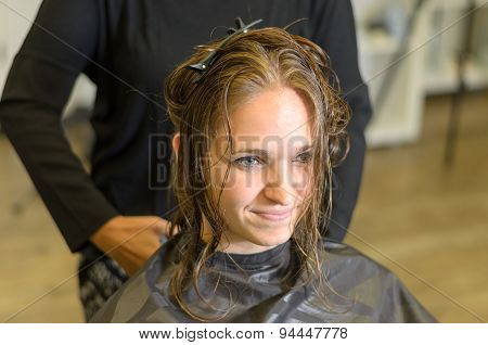 Pretty Smiling 20S Woman At Hairdressers