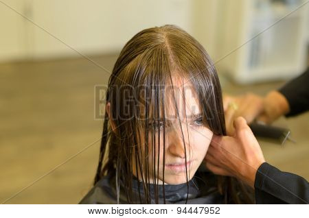 Hairdresser Cutting A The Hair Of A Young Woman