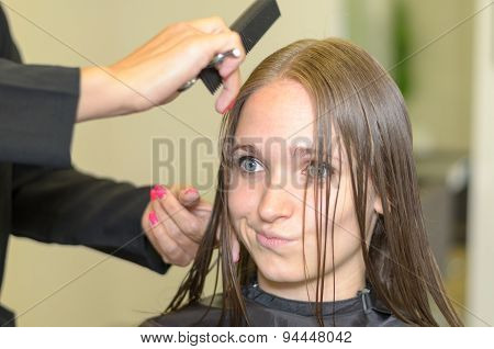 Attractive Girl Inside A Salon