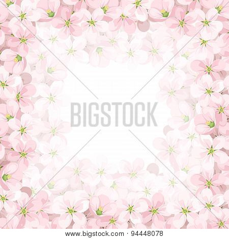 Vector background with pink apple flowers. Vector eps-10.