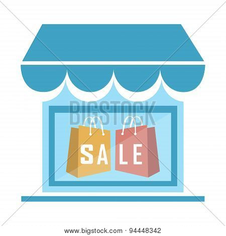 Shop Building Icon Illustration