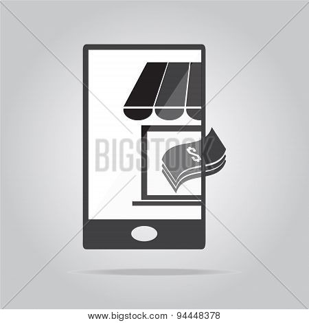 Shop With Money On Smart Phone Icon Illustration
