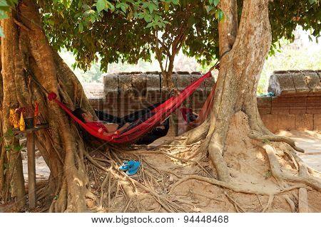 Cambodian Man Resting, Angkor Wat