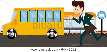 Businessman running after bus