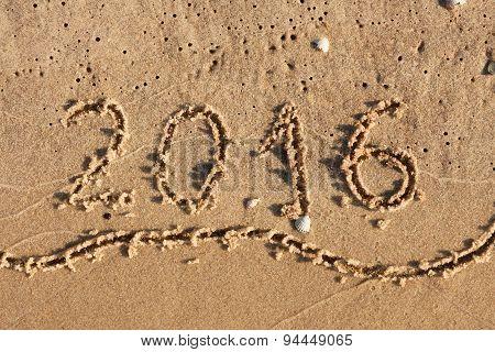 Year 2016 Written On Beach Sand