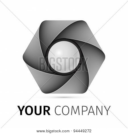 Abstract camera shutter logo