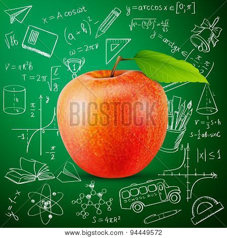 apple and hand draw school icon