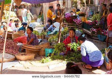 Local Market In Bagan, Myanmar