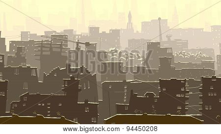 Abstract Cartoon Illustration Of Big Snowy City.