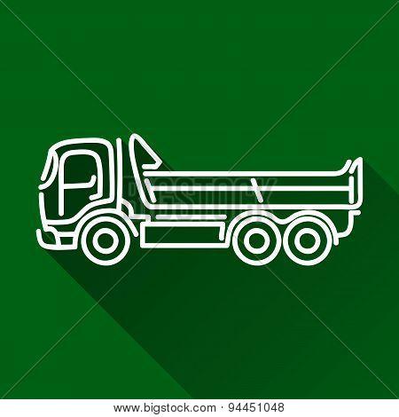 Tipper Dump Truck Flat Line Icon