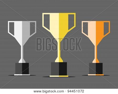 Three Trophy Cups