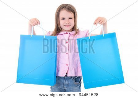 Cute Little Girl With Shopping Bags Isolated On White