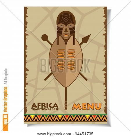 Cover Menu template. Africa cafe. Vector Graphics.