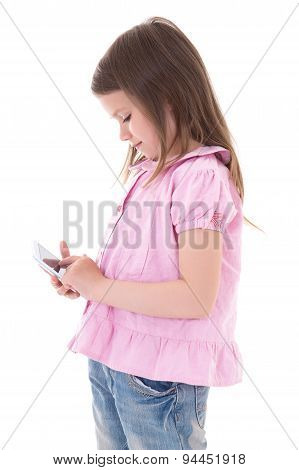 Cute Little Girl With Modern Smart Phone Isolated On White