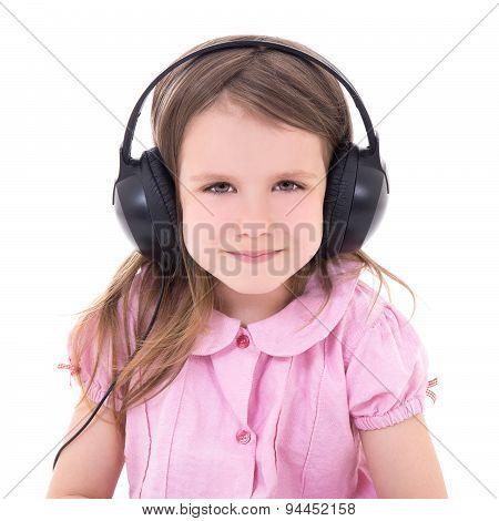 Cute Little Girl Listening Music In Earphones Isolated On White