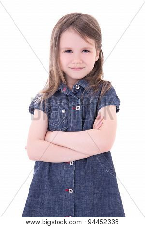 Funny Cute Little Girl In Denim Dress With Crossed Hands Isolated On White