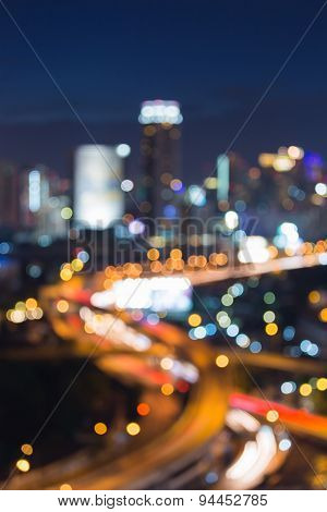 Abstract urban intersection road light bokeh  defocused background