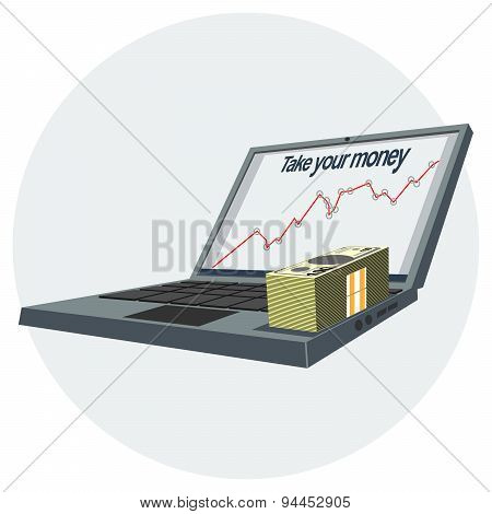Computer and money. Vector graphics.
