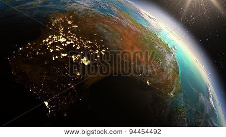 Planet Earth Australia Zone. Elements Of This Image Furnished By Nasa