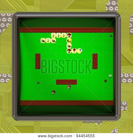 LCD Screen with Retro Style Game Generated Texture