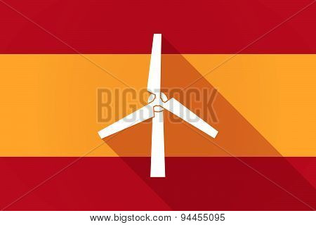 Spain  Long Shadow Flag With A Wind Generator